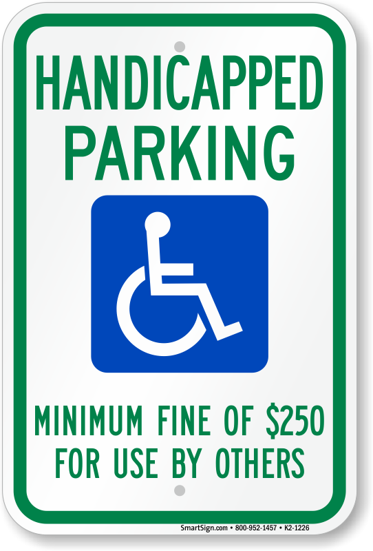 Nevada ADA parking sign with minimum fine of $250 text