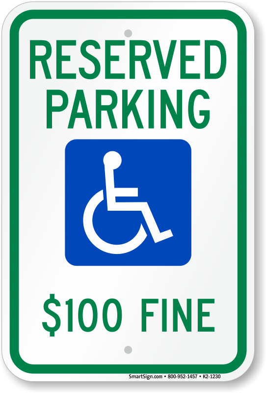 North Dakota parking sign with $100 fine text