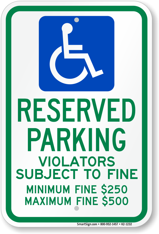 Ohio ADA parking sign with violator subject to fine text