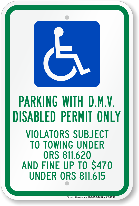 Oregon ADA parking sign with parking with DMV disabled permit only text
