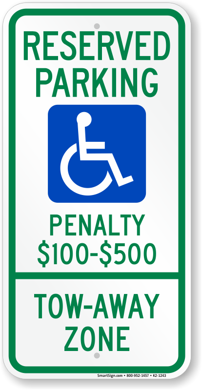 Virginia ADA parking sign with penalty $100 to $500 text