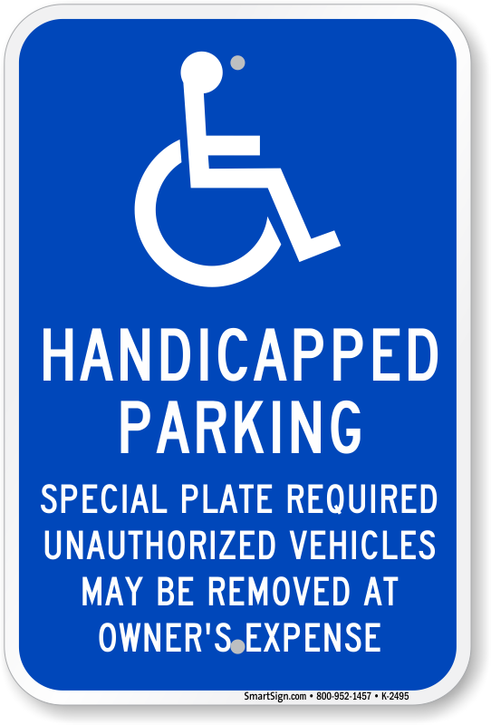 Massachusetts ADA parking sign with special plate required text