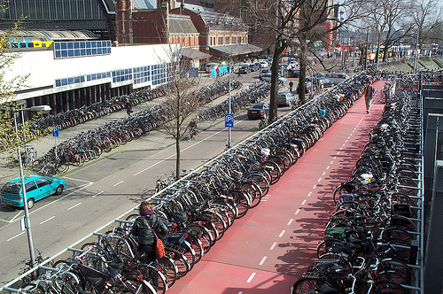 crowded bike parking in amsterdam