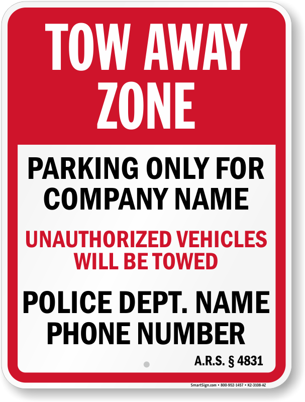 Alabama tow away sign with custom text and up to date statute