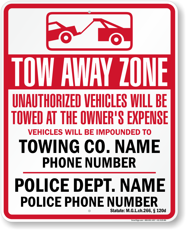 Massachusetts tow away sign with up to date statute