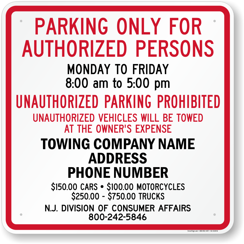 New Jersey tow away sign with custom text and up to date statute