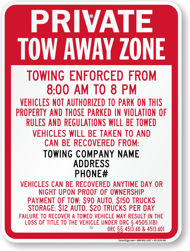 Ohio tow away sign with custom text and up to date statute