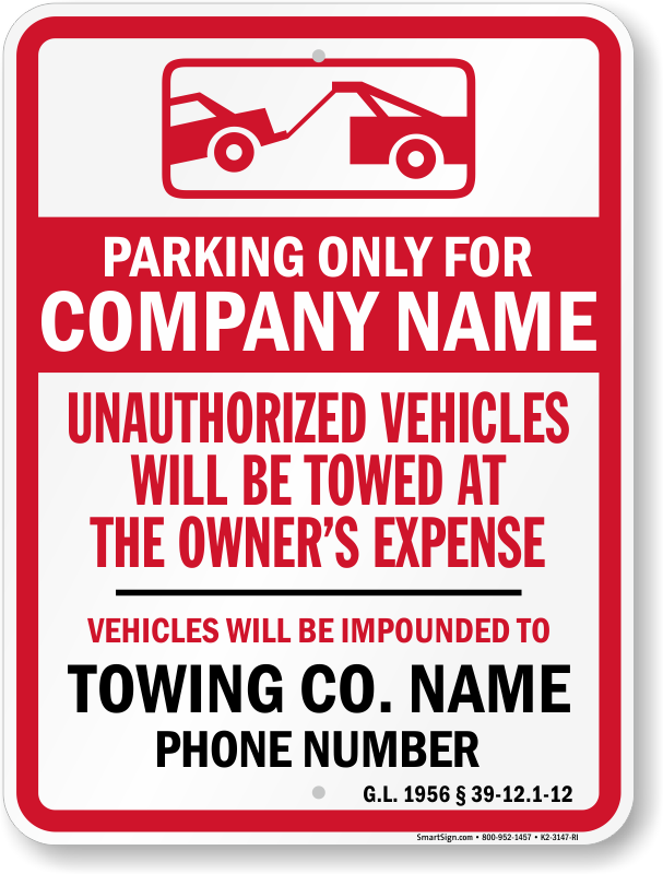 Rhode Island tow away sign with custom text and up to date statute