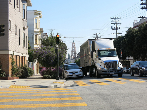 Freight truck double parked in San Francisco