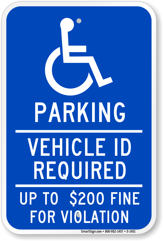 Minnesota ADA parking sign with vehicle ID required text