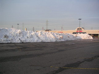 parking lot with snowdrift