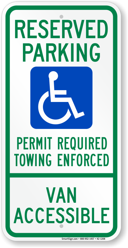 Arkansas ADA parking sign with permit required, towing enforced text