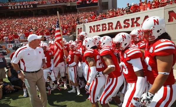 University of Nebraska Cornhuskers team on game day.