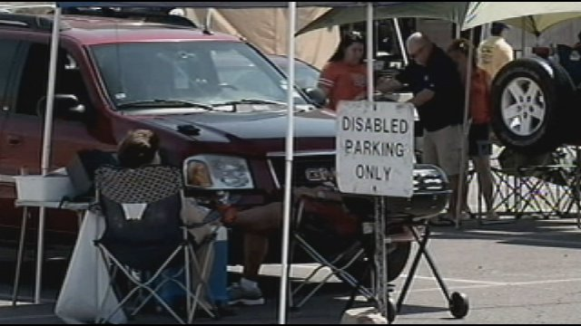 Reserved football parking for tailgaters with disabilities, University of Texas at El Paso.