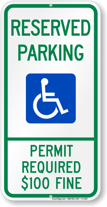 Montana ADA parking sign with permit required $100 fine text
