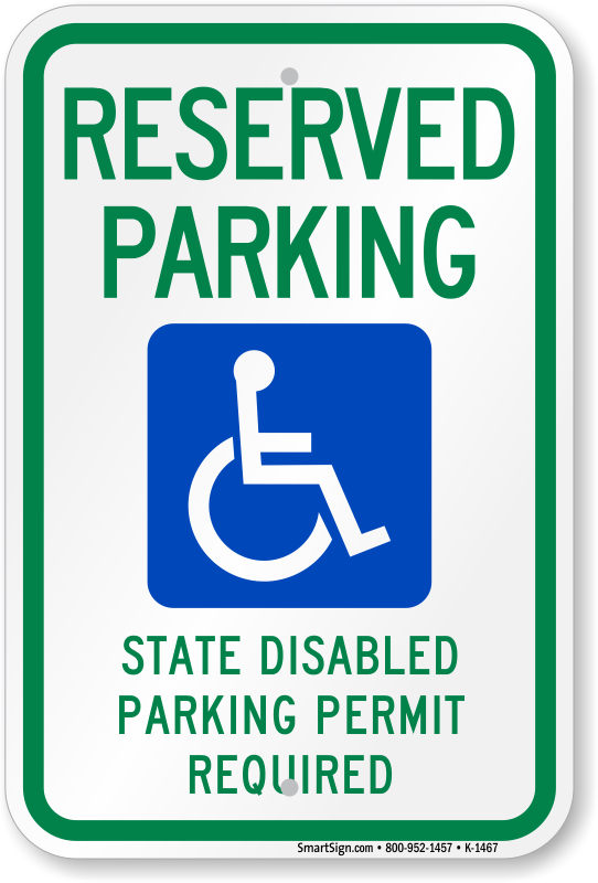 Washington ADA parking sign with state disabled parking permit required text