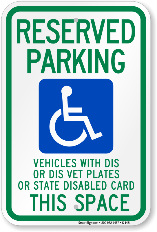 Wisconsin ADA parking sign with vehicles with dis or dis vet plates text