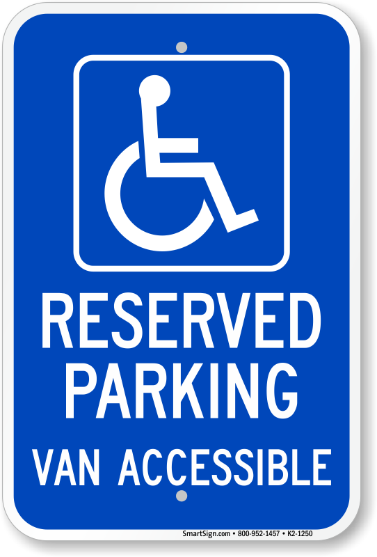 Michigan ADA parking sign with reserved parking van accessible text