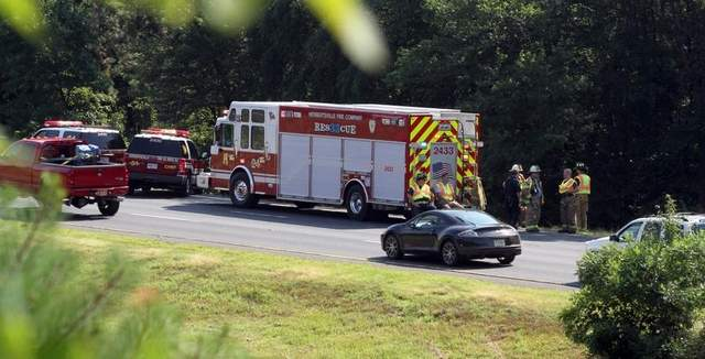 Emergency vehicles at crash scene