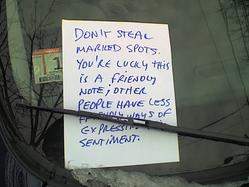 space saver note