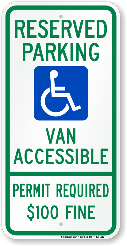 Delaware ADA parking sign with van accessible, permit required $100 fine text