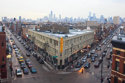 chicago skyline with flatiron arts building