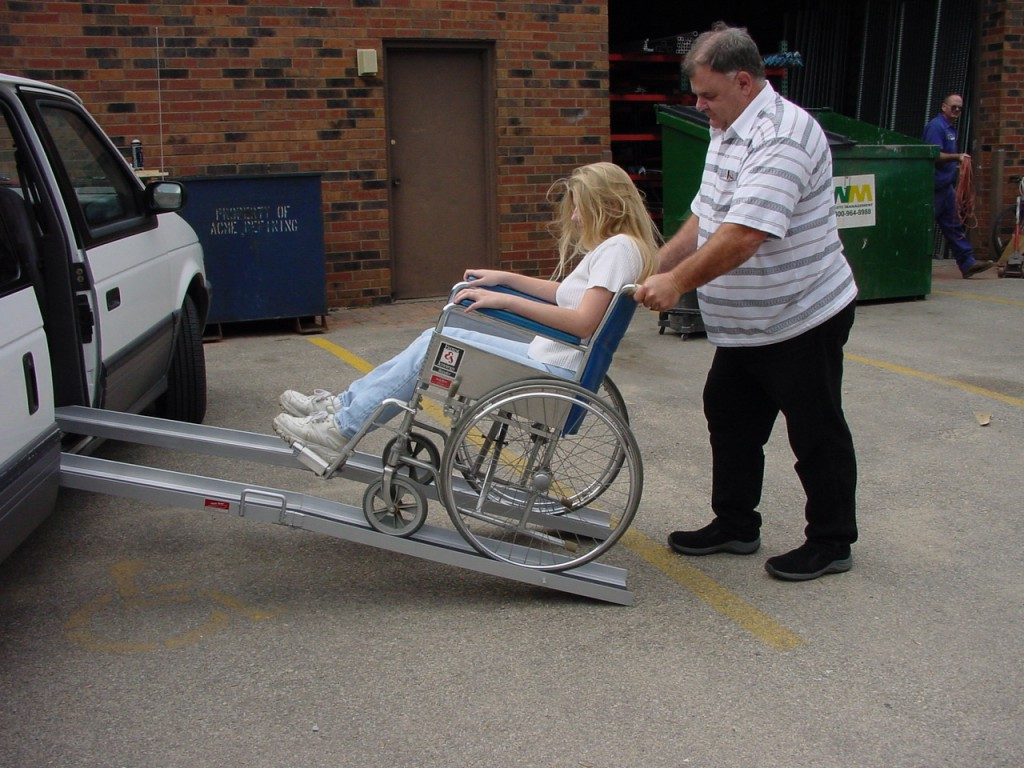 Van wheelchair ramps should be seven feet or less for disabled parking.