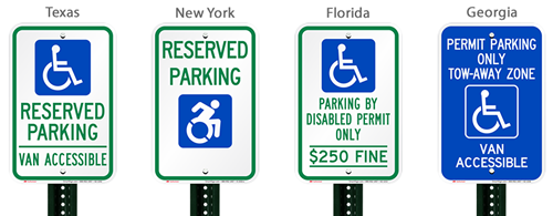Which handicapped parking sign should I use in my state?