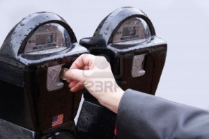 Old-fashioned parking meters