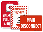 Emergency Shut Off Signs