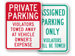 Violators Will Be Towed Signs