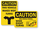 Wide Turn Signs & Labels