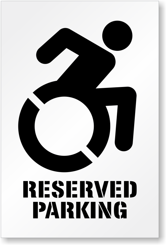 reserved parking stencil with updated accessible symbol sku st 0114 n. Black Bedroom Furniture Sets. Home Design Ideas