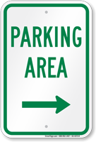Parking Area Right Arrow Sign