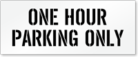 One Hour Parking Only, Parking Lot Stencil
