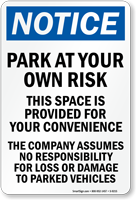 Company Assumes No Responsibility Sign