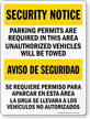 Bilingual Parking Permits Required Sign