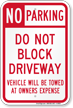 Driveway Towing sign