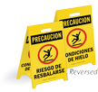 Spanish Reversible Fold-Ups® Slippery Hazard Icy Conditions Floor Sign